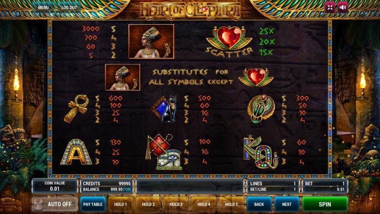 Изображение игрового автомата Heart of Cleopatra 3