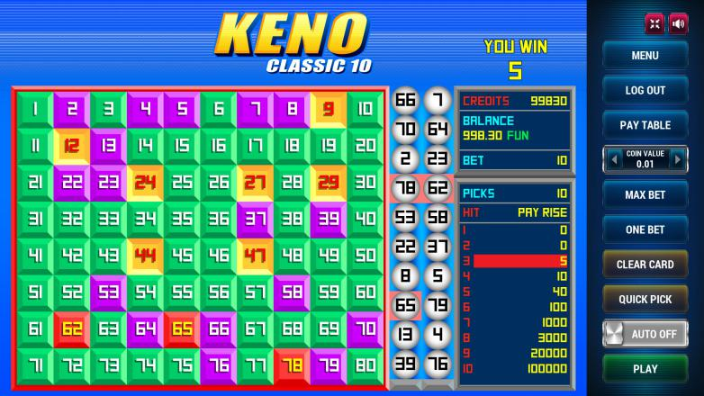 Изображение игрового автомата Keno Classic 10 3